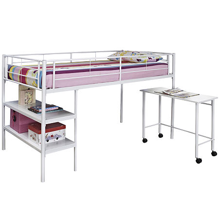 Pearson Twin Loft Bed With Desk and Shelves, One Size , White