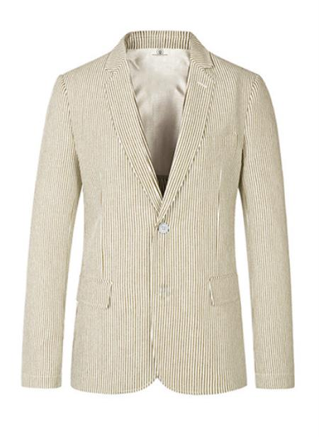 Men's Two Button Medium Notch Lapel Seersucker Beige Sport Coat
