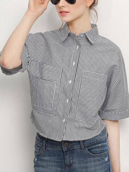 Yoins Stripe Pattern Short Sleeve Collar Shirt with Buttons