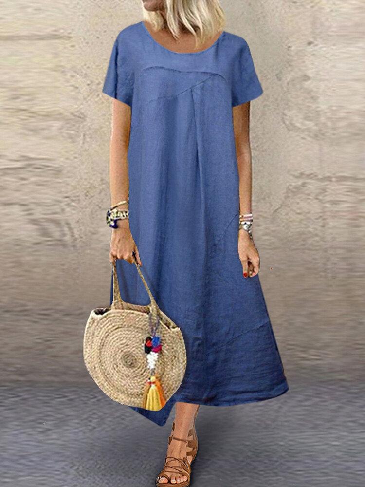 Solid Color Irregular Short Sleeve Plus Size Dress