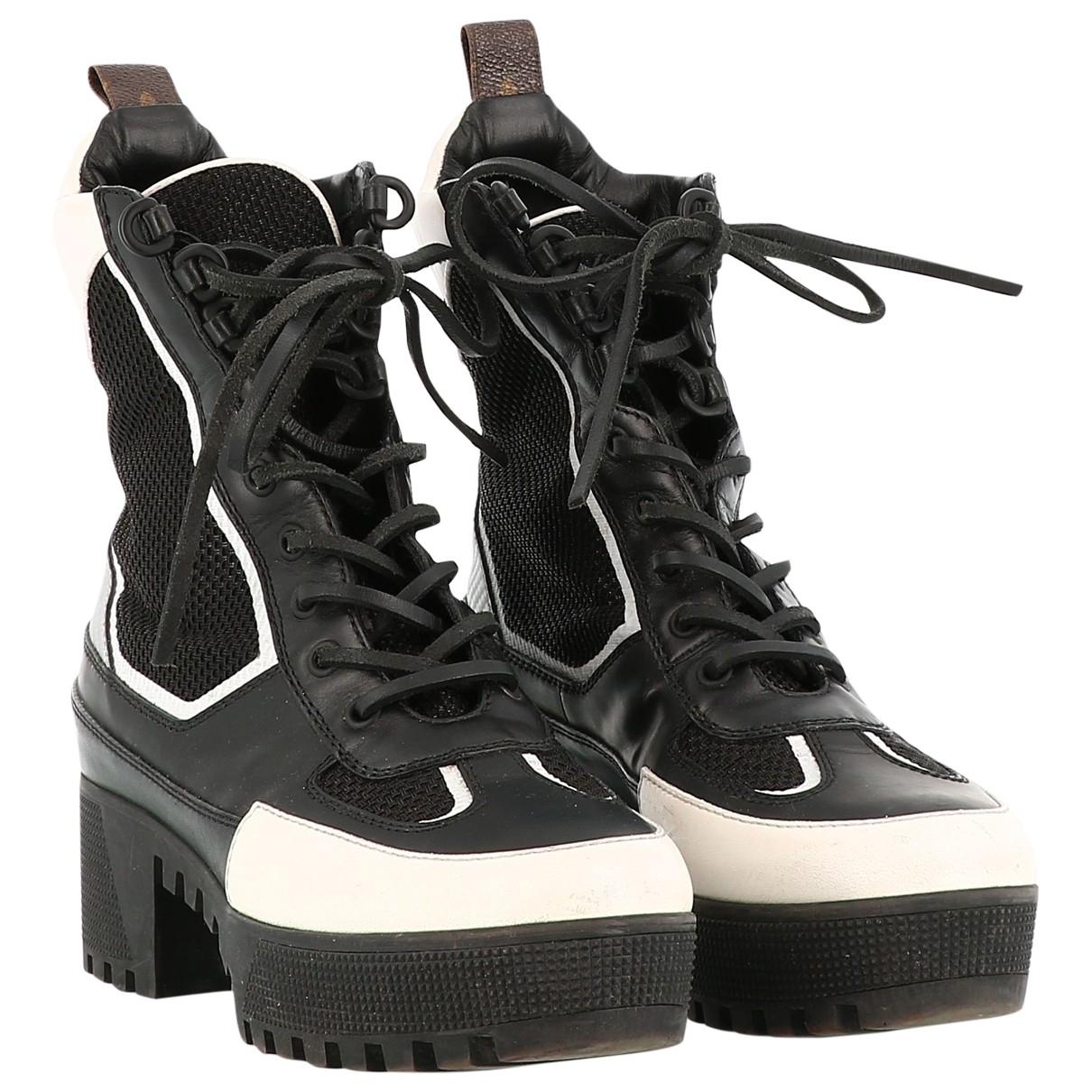 Louis Vuitton Laureate Black Leather Ankle boots for Women 38 EU