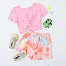 Girls Twist Hem Top and Slant Pocket Tie Dye Shorts Set