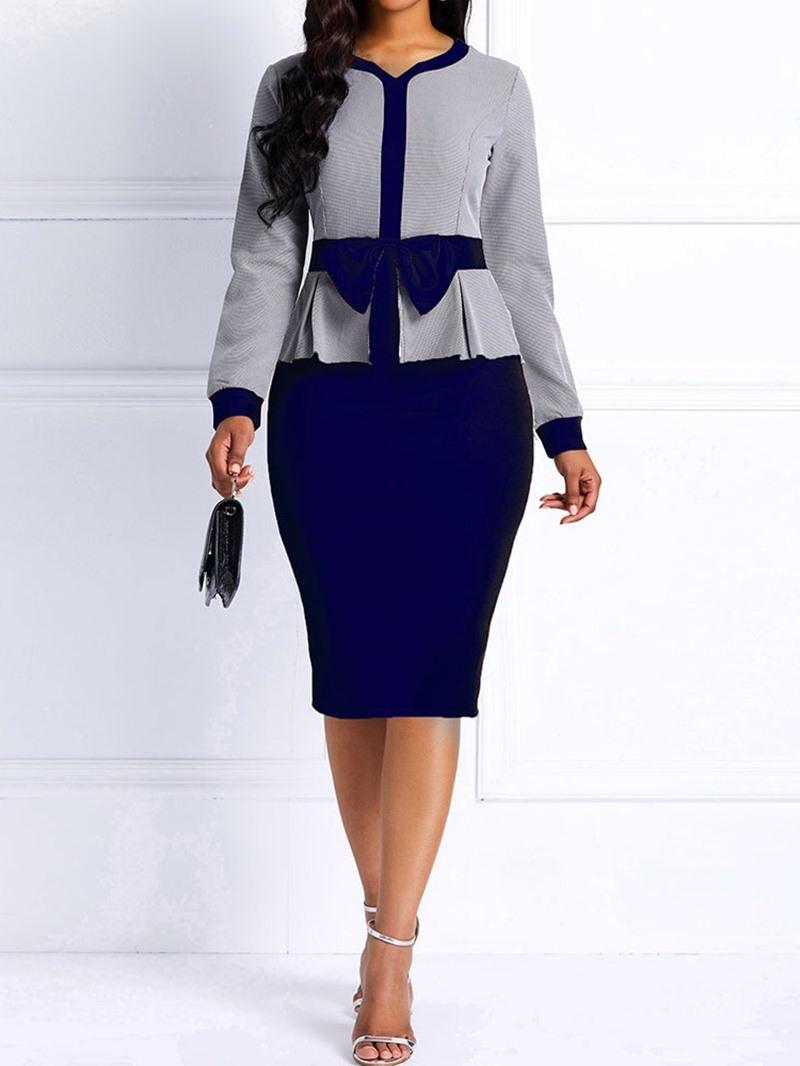 Ericdress Long Sleeve Bowknot V-Neck Regular Standard-Waist Dress