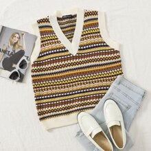 Striped Pattern Sweater Vest