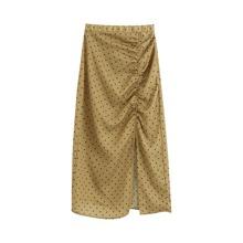 Falda de muslo con abertura con fruncido de lunares