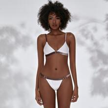 Dreieckiger Samt Bikini Badeanzug mit Kontrast Bindung