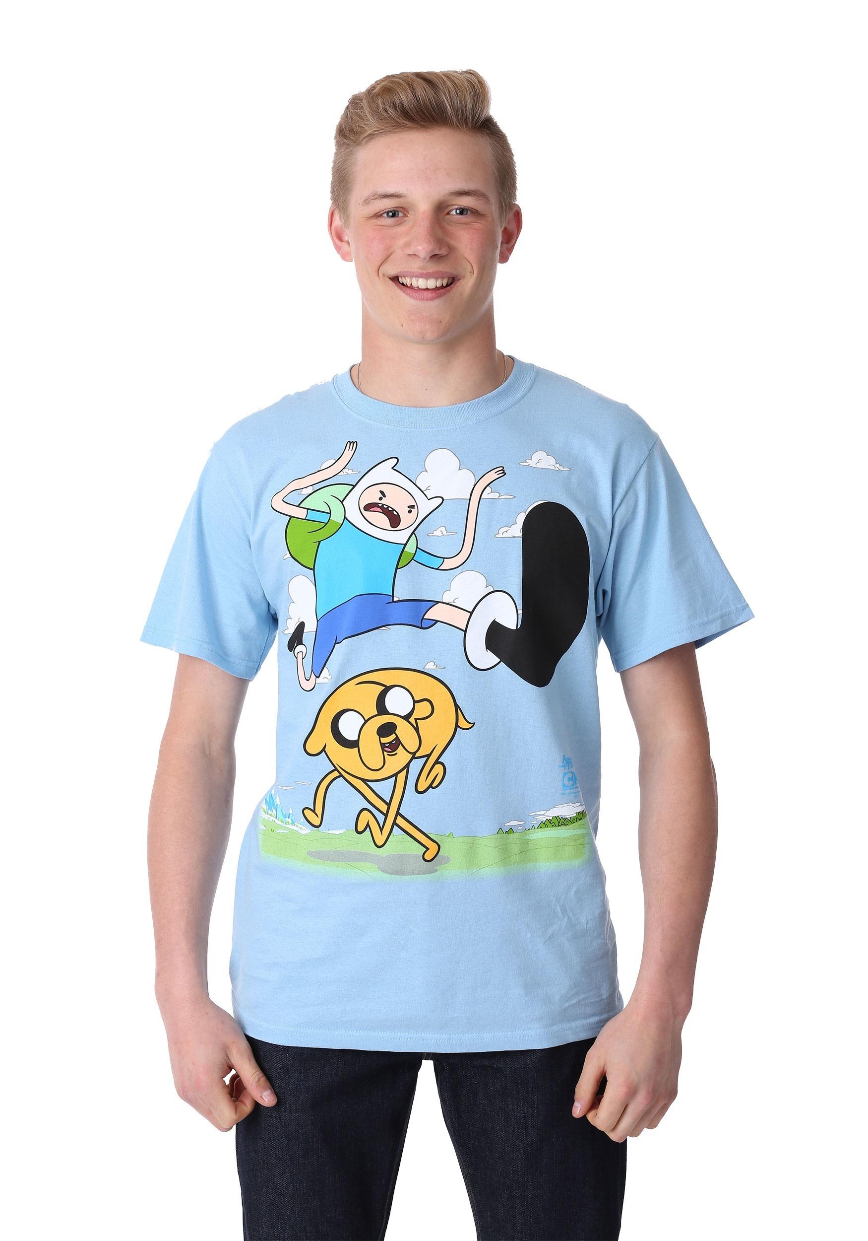 Adventure Time Finn Kick Jump T-Shirt for Men