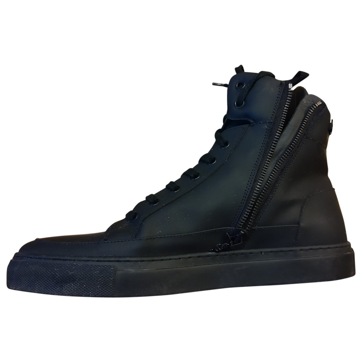 Trussardi - Baskets   pour homme en cuir - noir