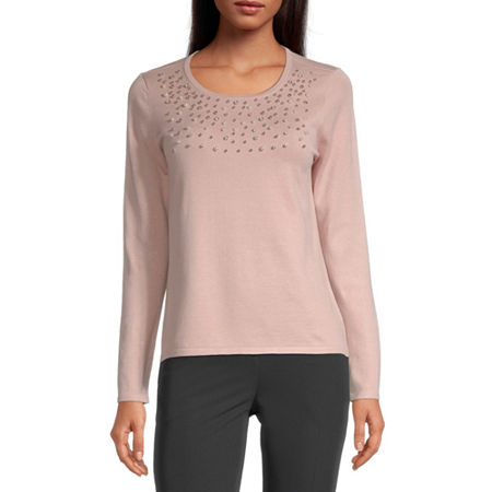 Liz Claiborne Womens Scoop Neck Long Sleeve Pullover Sweater, X-small , Pink