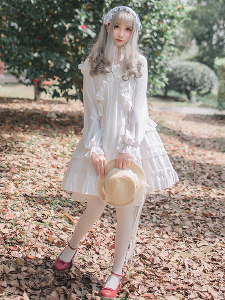 Milanoo Rococo Lolita JSK Jumper Skirt Ruffles Frills White Lolita Dress
