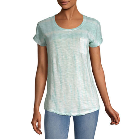 a.n.a-Womens Round Neck Short Sleeve T-Shirt, X-large , Blue