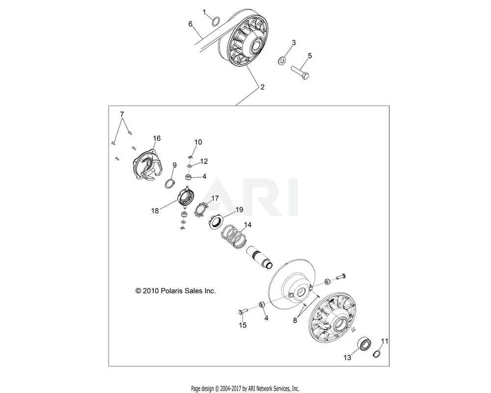 Polaris OEM 1322946 ASM., DRIVEN CLUTCH | [INCL. 4, 7-19][BUILT 4/01/13 AND BEFORE]