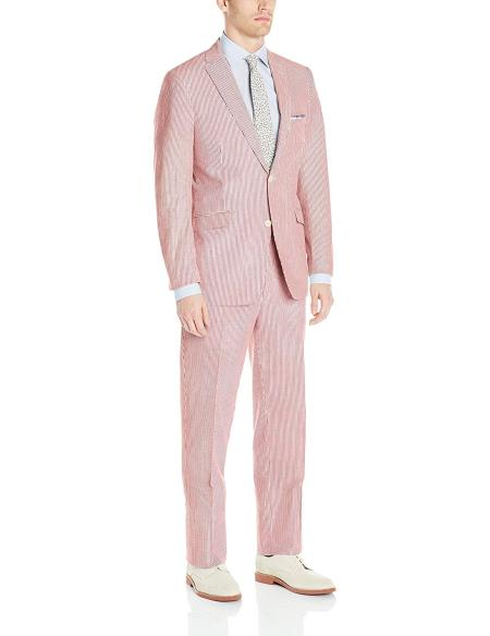 Men's 2 Button Notch Lapel Nested Seersucker Stripe Cotton Red Suit