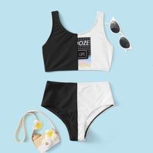Bikini Badeanzug mit Farbblock und Grafik Muster