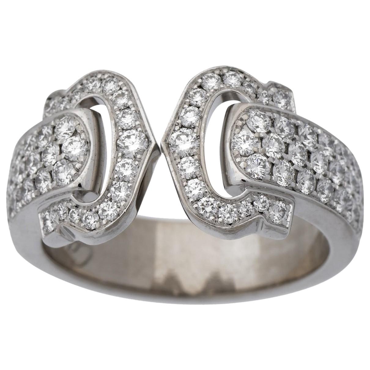 Cartier - Bague C pour femme en or blanc - argente