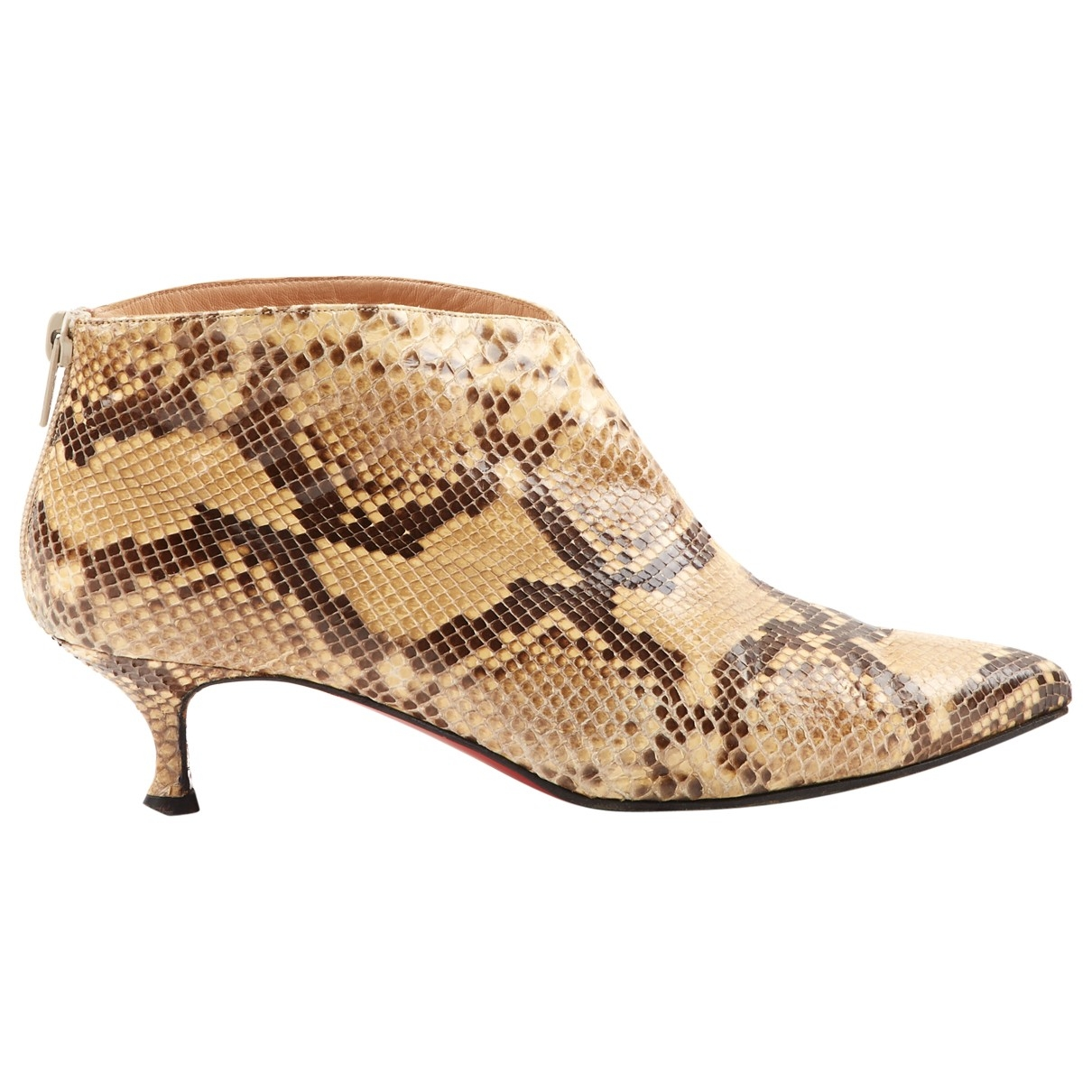 Christian Louboutin \N Beige Python Ankle boots for Women 37.5 EU
