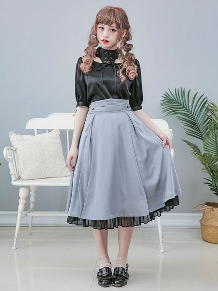 Milanoo Military Lolita Long Dress Mental Feather SK Dress
