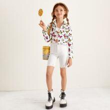 Jacke mit Taschen Klappen und Schmetterling Muster