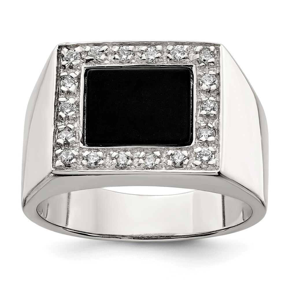 Sterling Silver Polished Men's Cubic Zirconia and Onyx Ring by Versil (11)