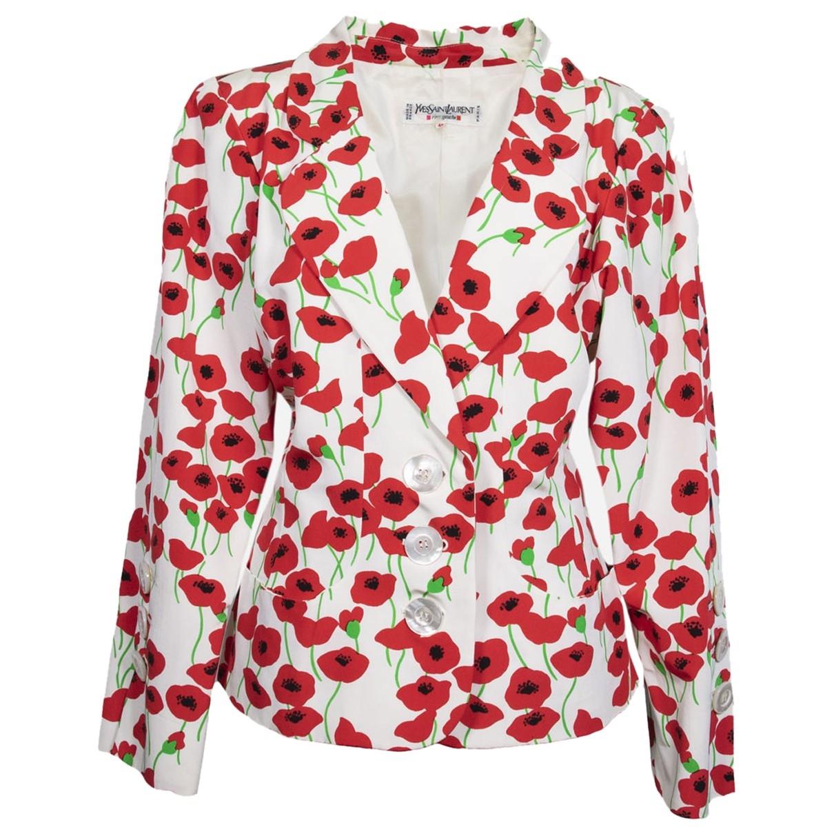 Yves Saint Laurent \N White Cotton jacket for Women 46 IT