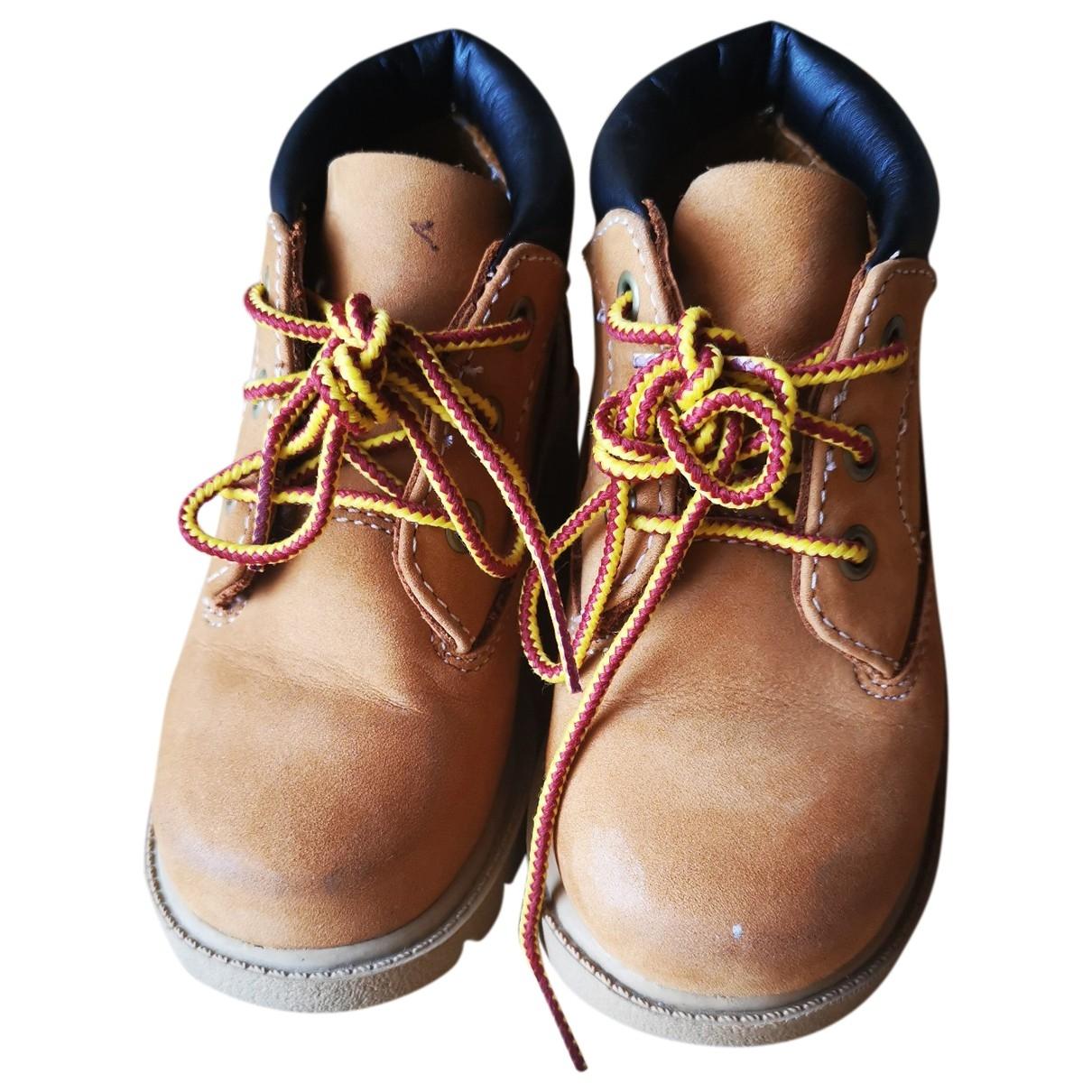 Timberland - Bottes.Bottines   pour enfant en cuir - beige