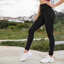 Wide Waistband Solid Sports Leggings