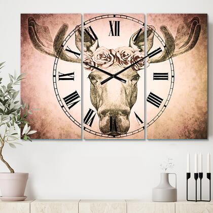 CLM10005-3P Designart Moose With Floral Head