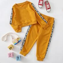 Toddler Girls Letter Tape Sweatshirt & Sweatpants