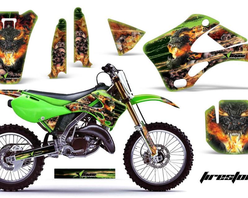 AMR Racing Dirt Bike Graphics Kit Decal Wrap For Kawasaki KX125 | KX250 1999-2002áFIRESTORM GREEN