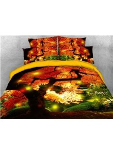 Red Maple Leaves 3D Scenery Comforter Soft Lightweight Warm 5-Piece Comforter Sets