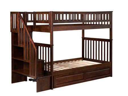 Woodland Collection AB56634 Twin Over Twin Size Staircase Bunk Bed with Twin Size Raised Panel Trundle  Casters  Matching Guard Rails and Hardwood