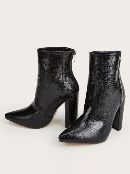 Milanoo Botas de tobillo de mujer Botas de patron de piedra con punta en punta de cuero PU marron