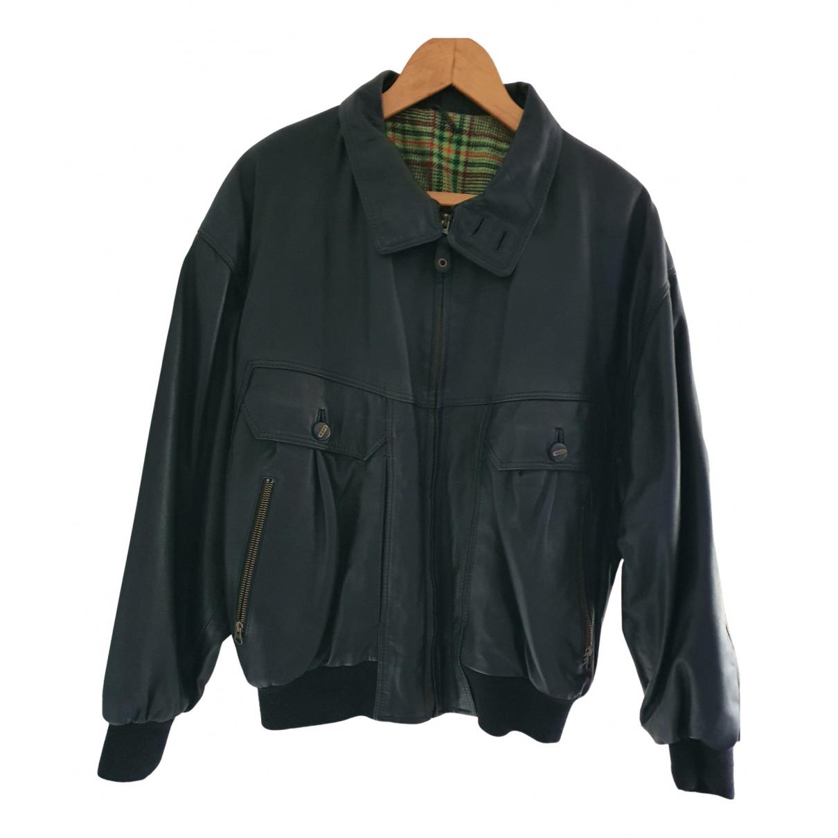 Boss - Manteau   pour homme en cuir - noir