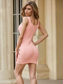 Sesidy Button Detail Rib-knit Dress