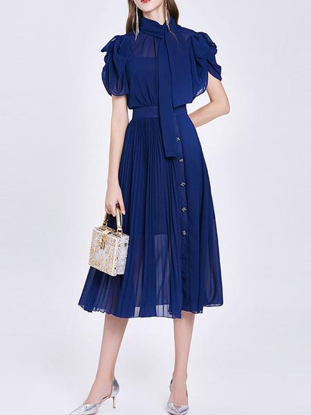 Milanoo Vestidos largos de mujer Manga corta Vestido largo transparente de gasa con cuello alto azul en capas