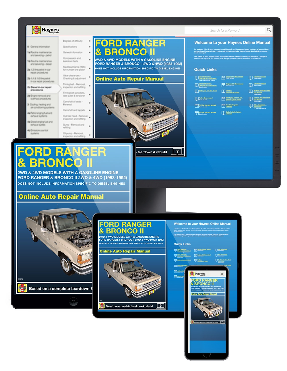 Ford Ranger and Bronco II 2WD & 4WD (83-92) Haynes Online Manual