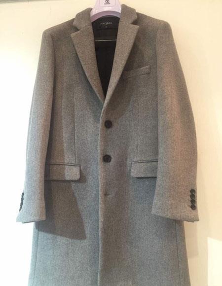 Men's Single 3 Button Light Grey Notch Lapel Cashmere Overcoat