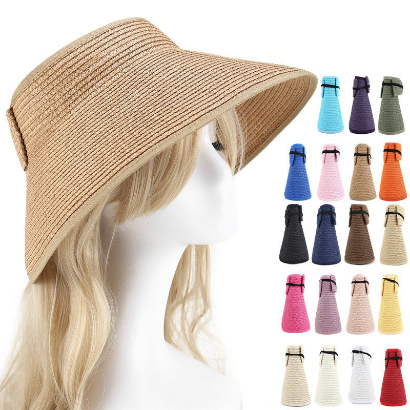 Women Summer Foldable Sunscreen Empty-top Bow Hat Outdoor Casual Beach Sun Straw Hat