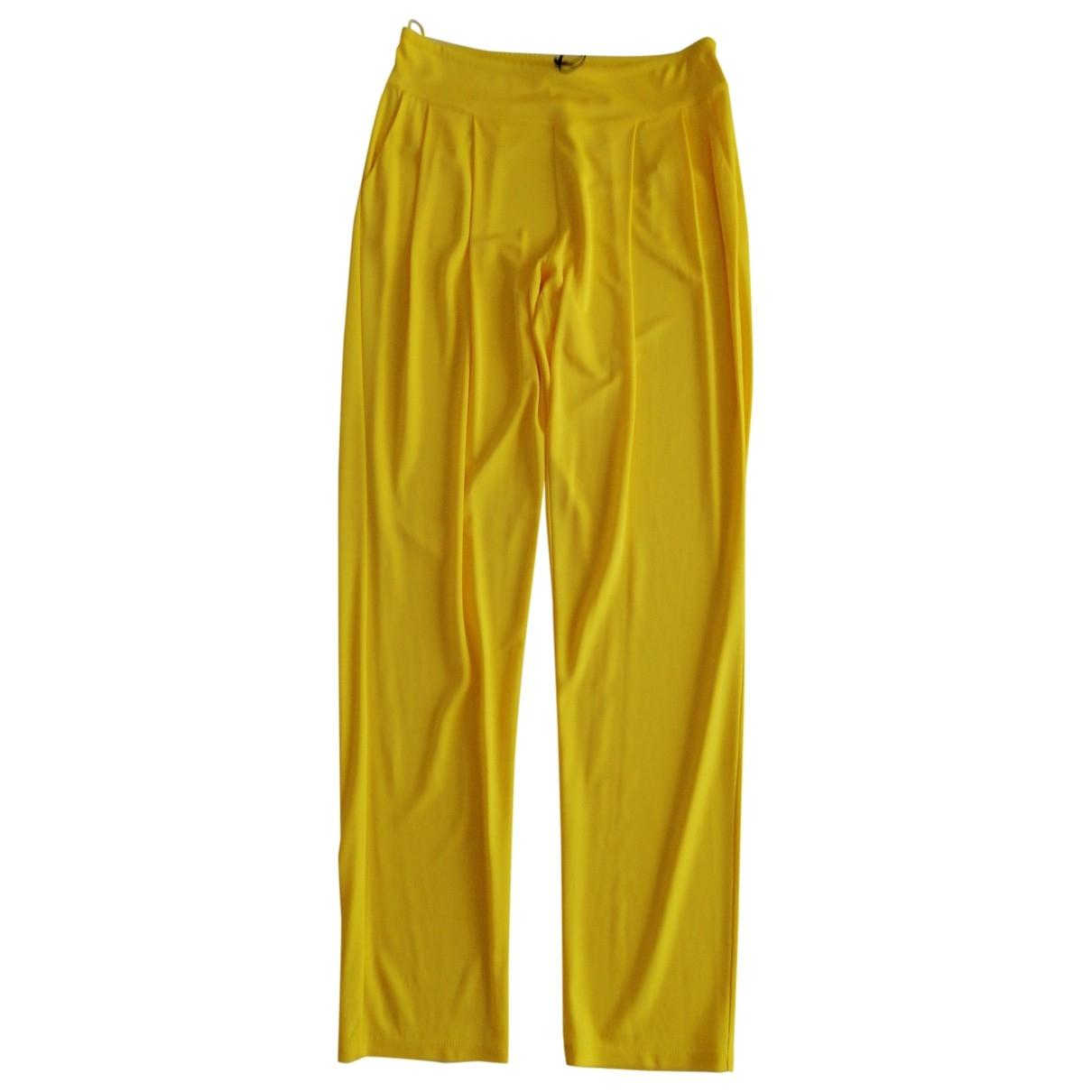 Balmain \N Yellow Trousers for Women 38 FR