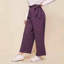 Plus Paper Bag Waist Drawstring Knot Side Wide Leg Pants