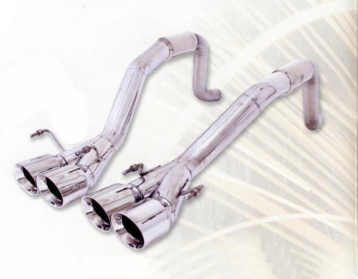 B&B Bullet Exhaust System Round Tips Chevrolet Corvette C6 6spd 05-07