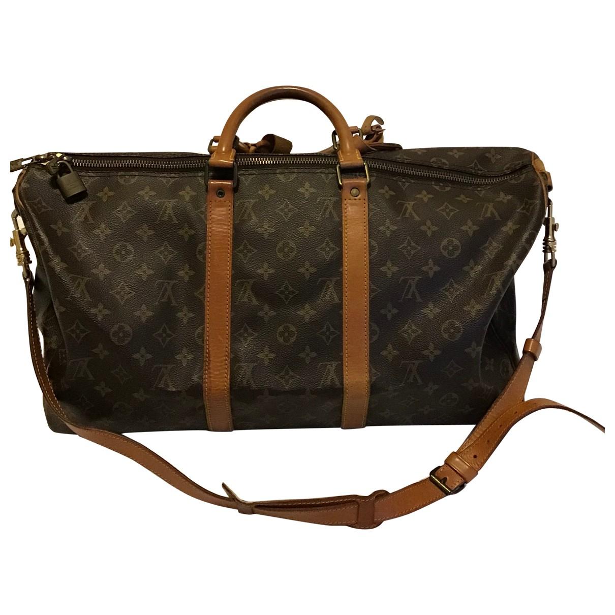 Louis Vuitton - Sac de voyage Keepall pour femme en toile - anthracite