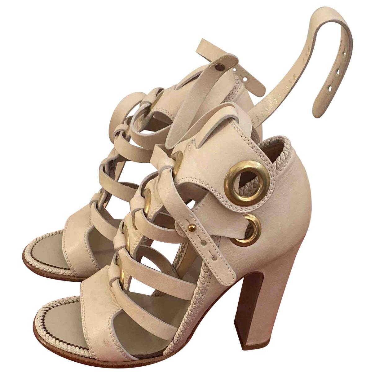 Salvatore Ferragamo \N Beige Leather Sandals for Women 37.5 EU