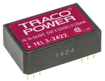TRACOPOWER TEL 3 3W Isolated DC-DC Converter Through Hole, Voltage in 18 → 36 V dc, Voltage out ±12V dc