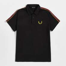 Men Plants Embroidered Detail Striped Tape Side Polo Shirt