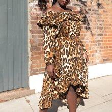 Vestido bajo asimetrico ribete con fruncido con estampado de leopardo