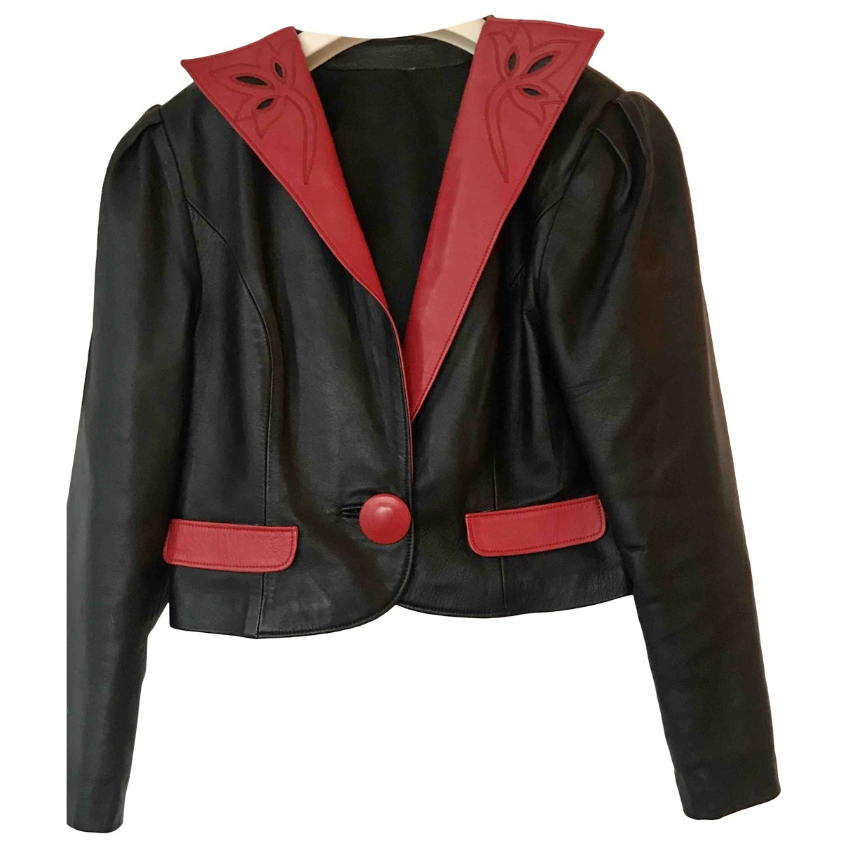 Non Signé / Unsigned Manche ballon Black Leather jacket for Women 36 FR