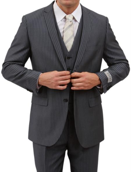 2 Button Grey Pinstripe Front Closure Slim Fit Suit Mens Cheap