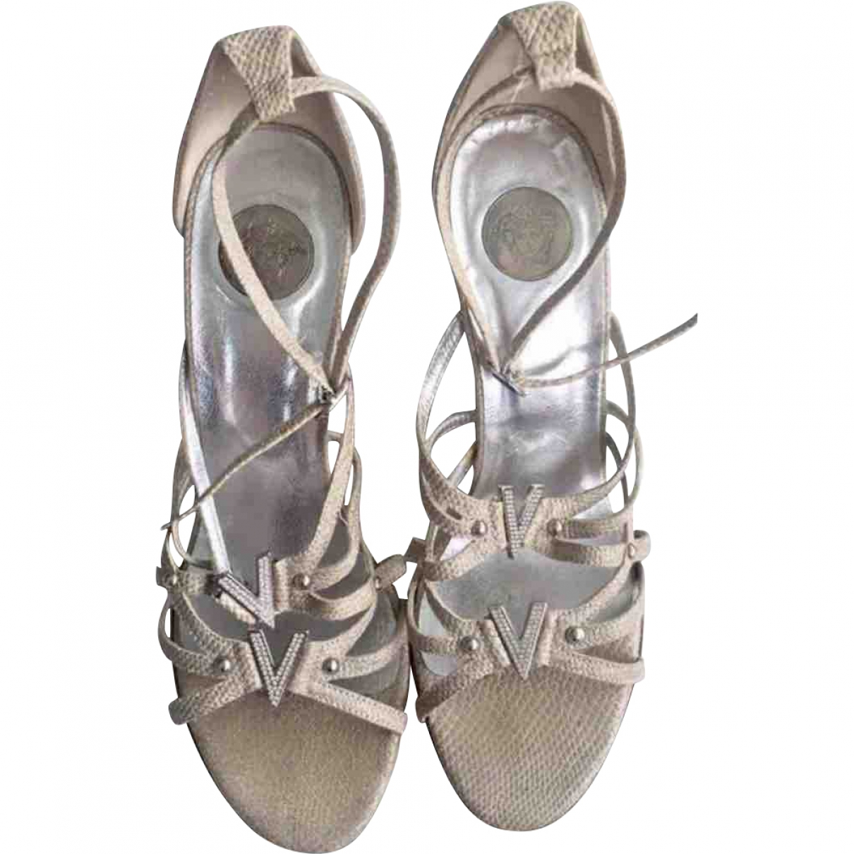 Versace \N Silver Cloth Sandals for Women 37.5 EU