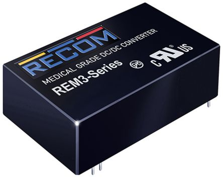 Recom REM3 3W Isolated DC-DC Converter Through Hole, Voltage in 9 → 18 V dc, Voltage out 12V dc Medical Approved